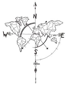 decalmile Geometric World Map Wall Stickers with Nautical Compass Wall Decals Removable Wall Art Office Living Room Bedroom Decor (Black) - Wall Art Map Compass, Nautical Compass, Tattoo Drawings, Cool Drawings, Mundo Tattoo, Wall Stickers, Wall Decals, Compass Drawing, World Map Wall