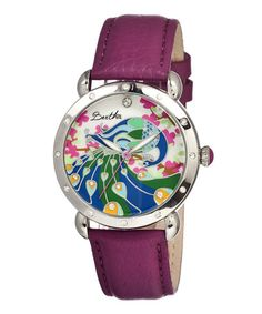 Look at this #zulilyfind! Silver & Fucshia Peacock Mother-of-Pearl Didi Leather-Strap Watch #zulilyfinds