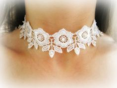 White lace flower choker lace embroidered by MalinaCapricciosa