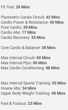 Insanity workout lengths cheat sheet.   Sweet! I feel like plyo is the longest 42 minutes of my life!