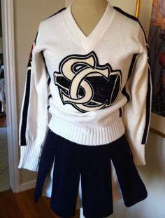 Vtg White Navy Cheerleader Cheerleading Uniform Outfit Sweater Skirt s XS Sweater Skirt, Sweater Outfits, Cheerleading Uniforms, Girls Sleepwear, Sailor Collar, Navy, Sweatshirts, Skirts, Sleeves