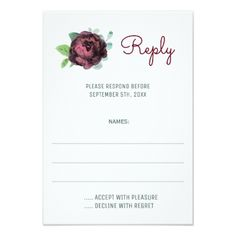 Burgundy Roses Watercolor Wedding Reply Cards - invitations custom unique diy personalize occasions