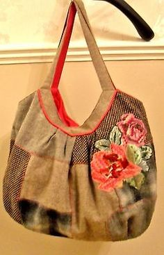 Accessorize #tweed #patchwork applique floral tote #festival shoulder bag, View more on the LINK: http://www.zeppy.io/product/gb/2/371660024426/
