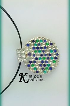 Shades of Blue and Green Fine Silver Double Sided Medallion by DivaKreations on Etsy