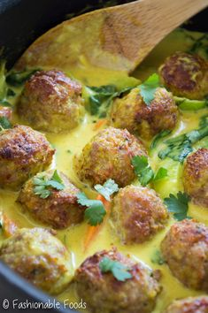 Tender turkey meatballs take on Thai flavors! These Thai yellow curry turkey meatballs are broiled until golden and smothered in curry sauce and vegetables. Serve over cauliflower rice for a tasty Paleo or meal! (Substitute meatballs for veggie sausage) Paleo Whole 30, Whole 30 Recipes, Whole Food Recipes, Cooking Recipes, Healthy Recipes, Thai Yellow Curry, Turkey Meatballs, Paleo Dinner, Recipes Dinner