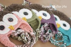 Repeat Crafter Me: Crochet Owl Hat Pattern in Newborn-Adult Sizes - FREE PATTERN!!! Love this site!! So many cute and free patterns!! I think one is my absolute favorite though!