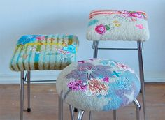 I want to do this, make a large felted piece to slipcover an ottoman. from: all the luck in the world