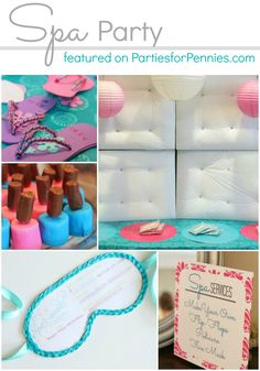 Girls Birthday Party Idea – Spa Party:    Make your own flip-flopd, Pedi's and facial mask..all girly-girl! Great ideas and free printables for a great party.    How To & Printables @:  http://partiesforpennies.com/2013/04/girls-birthday-party-idea-spa-party/