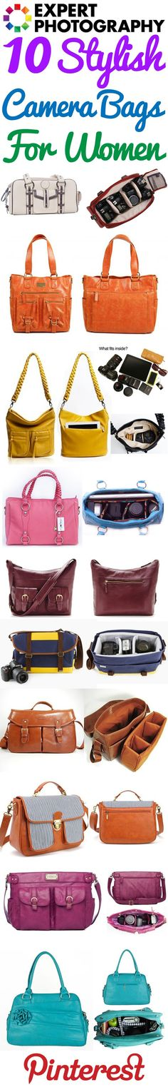 10 Stylish Camera Bags for Women. Well, I was not going to pin this post at first, because I thought the idea of a purse camera bag was lame, and would not work. I was wrong! After I saw the pictures of how organized, and how much camera gear you can fit into these purses, and the purse still looks so cute! I now want one! The pink one will do just fine with me, haha! :-)