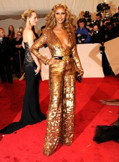 Sequin Pantsuit.  Borrowed from husband David Bowie?