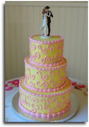 3-tier round wedding cake by Windy City Cakery.  www.windycitycakery.com