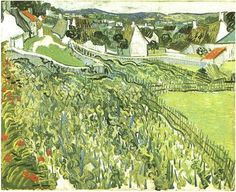 Vineyards with a View of Auvers Vincent van Gogh Painting, Oil on Canvas Auvers-sur-Oise: June, 1890