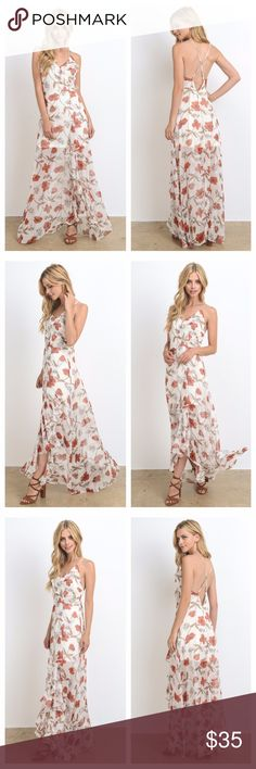 Ivory And Coral Floral Criss-Cross Back Maxi Ivory and coral floral maxi zips in lower back and has a criss-cross tie in upper back. Lining is from top to upper thigh, and sheer outer layer has ruffles from neck to floor along a split front. Lining is light in color so wear skin-color undergarments. EVIEcarche Dresses