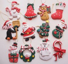 New Craft Clay Ideas Dough Ornaments 20 Ideas Polymer Clay Ornaments, Sculpey Clay, Dough Ornaments, Polymer Clay Miniatures, Polymer Clay Projects, Polymer Clay Creations, Polymer Clay Jewelry, Clay Earrings, Clay Christmas Decorations