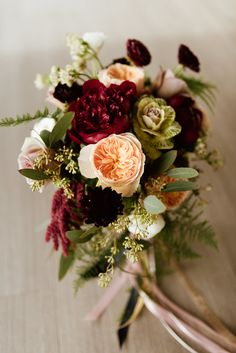 Flowers by Lace and Lilies, fall wedding bouquet, burgundy and peach flowers, peony garden rose kale ranunculus