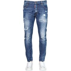 Dsquared2 Men 22cm Tidy Biker Stretch Denim Jeans ($600) ❤ liked on Polyvore featuring men's fashion, men's clothing, men's jeans, blue, mens destroyed jeans, mens faded jeans, mens distressed jeans, mens blue jeans and mens jeans
