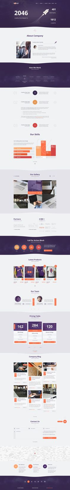 Buy Rocket - Creative Multipurpose PSD Template by wwwebinvader on ThemeForest. Description: The Rocket Multipurpose PSD Template has awesome design for each of your ideas. It is designed for corp. Flat Web Design, Web Ui Design, Page Design, Design Design, Graphic Design, Creative Design, Interface Web, User Interface Design, Website Design Inspiration
