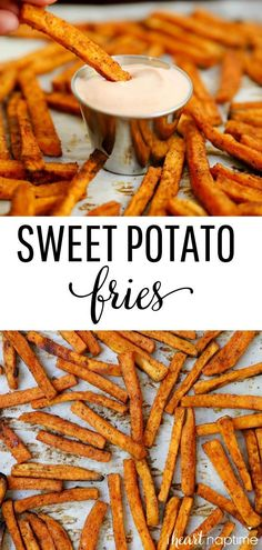snack recipes Baked Sweet Potato Fries - This sweet potato fries recipe is so easy to make and tastes absolutely DELICIOUS! Healthy, crispy and full of flavor. Makes the perfect side dish or snack! Great Dinner Recipes, Good Recipes, Summer Recipes, Dinner Ideas, Vegetarian Recipes, Healthy Recipes, Sweet Potato Recipes Healthy, Easy Sweet Potato Recipe, Easy To Make Recipes