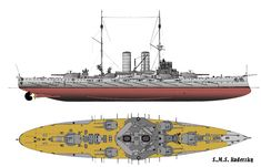 Illustration of this type of vessel; the ship carried two large gun turrets on either end and four smaller turrets arranged around two tall smoke stacks in the center.