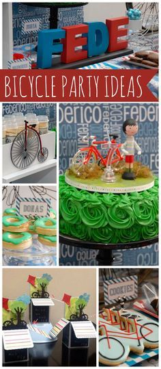 A blue and red bicycle boy birthday party with a fun cake, cookies and treats!  See more party planning ideas at CatchMyParty.com!