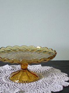 Scalloped amber glass.