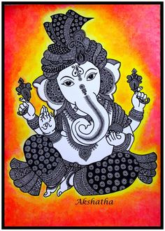 Hindu God Lord Ganesha Zentangle Art P. Ganesha Painting, Ganesha Art, Krishna Art, Lord Ganesha, Ganesha Drawing, Ganpati Drawing, Ganesha Sketch, Ganesha Tattoo, Doodle Art Drawing