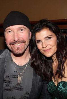 The Edge and Bono's wife Alison Hewson U2 Music, Music Guitar, Rock N Roll Music, Rock And Roll, Ali Hewson, David Evans, Irish Rock, Larry Mullen Jr, Bono U2
