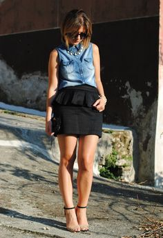 romwe  Camisas / Blusas, Zara  Tacones / Plataformas and H  Faldas    Denim shirts for this season!!!
