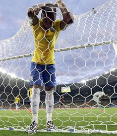 Brazil's Fernandinho reacts after Germany's Toni Kroosduring scored his side's third goal during the World Cup semifinal soccer match between Brazil and Germany at the Mineirao Stadium in Belo Horizonte, Brazil, Tuesday, July 8, 2014. It is the first time since 1938 that Brazil lost a World Cup semi-final, they had progressed in their previous six. Brazil failed to have a shot on target in the first half. (AP Photo/Natacha Pisarenko)