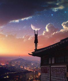 Das # Anima und das # Animus in der # Multi-Mond-Astrologie - Gute Nacht - Fale Manga Art, Anime Art, Yuumei Art, Anime Body, Anime Pokemon, Ciel Nocturne, Beautiful Moon, Anime Scenery, Marshall Lee