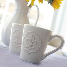 Mesa Home Six Piece Fleur-de-Lis Mug in Antique White