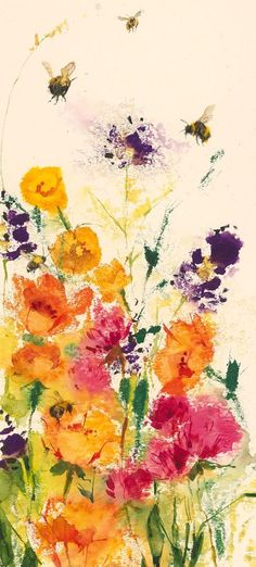 Bees in the Border 2 - Watercolour by Kate Osborne