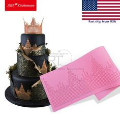 Crown Cake Lace Mat Silicone Mold Fondant Cake Decorating Tool Cake Stencil Mold #CrownCakeChina