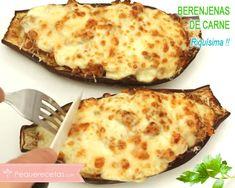 Berenjenas rellenas de carne y verduras Relleno, Salsa, Pizza, Cheese, Food, Healthy Recipes, Meals, Bolivian Food, Eten