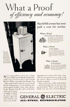 "1920s GE ""Monitor"" Fridge: electric fridges were in MOST homes by 1935"