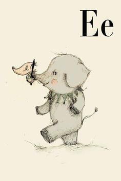 E for Elephant - Alphabet art - Alphabet print - ABC wall art - ABC print - Nursery art - Nursery decor - Kids room decor - Children's art by holli on Etsy Animal Alphabet, Alphabet Print, Alphabet Letters, Kids Alphabet, Elephant Love, Elephant Art, Elephant Nursery, Elephant Theme, Safari Nursery