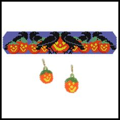 Halloween Ravens Bracelet & Earrings | Bead-Patterns.com