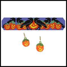 Halloween Ravens Bracelet & Earrings | Bead-Patterns.com