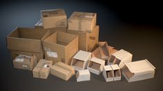 A set of realistic Cardboard Boxes aimed to fill in-game environments. + 17 x _Meshes_ + 20 x _Textures_ details:__ + Physically-Based R. Cardboard Packaging, Cardboard Boxes, Physically Based Rendering, Unique Kids Toys, Company Work, Packaging Solutions, Biodegradable Products, Cool Stuff, Storage