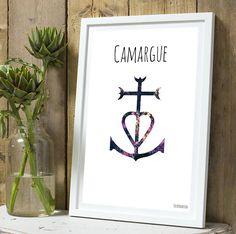 Affiche croix de Camargue couleur sans cadre : Décorations murales par…
