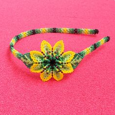 Beaded Flowers Patterns, Beading Patterns, Barrette, Huichol Art, Yarn Painting, Beadwork Designs, Spiritual Messages, Flower Headpiece, Hair Beads