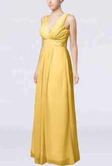Gold Chiffon Bridesmaid Dress Beach Plain Simple Pretty Chic Formal iFitDress