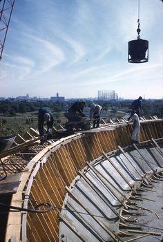 James S. McDonnell Planetarium under construction. Photograph taken by Henry T. (Mac) Mizuki in 1961. Mac Mizuki Photography Studio Collection, Missouri History Museum.