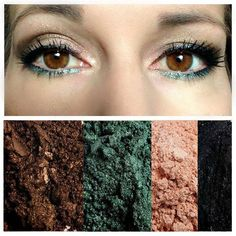 Brown and green look for brown eyes with younique eye pigments