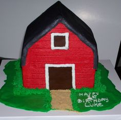 Barn Cake using 2 Wilton's Stand up House Cake Pans Barn Cake, Wilton House, Cow Birthday, House Cake, Chocolate Fondant, Up House, Farm Party, Fair Projects, Cake Pans