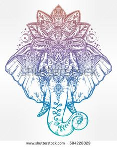 Vintage style vector elephant with with ornate lotus mandala crown, Ideal ethnic background, tattoo art, yoga, Indian, Thai, spirituality, boho design. Use for print, posters, t-shirts, textiles