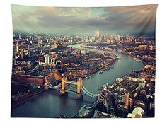 vipsung London Aerial View Tablecloth Panoramic Picture Of Thames River And Tower Bridge Dining Room Kitchen Rectangular Table Cover Teal Cream