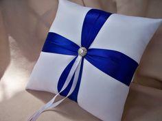 White Royal Blue Wedding Ring Bearer Pillow Rhinestone by Allofyou, $27.00