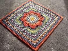 Spring Fling square crochet pattern for afghan blocks by April Moreland.