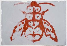 vjeranski:Joan Jonas2013, Three red Bees, Ink on handmade paper, cm 37×56